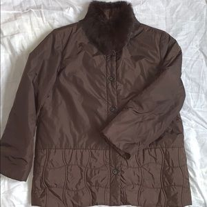 Brown Puffer Jacket with Faux Fur Lining